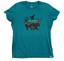 Women's Animal Badge T-shirt - TEAL - 2X