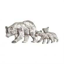 Black Bear and Cubs Pewter Lapel Pin