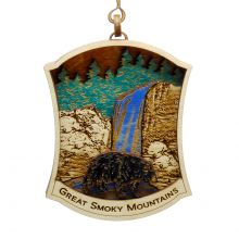 GSMNP Mountains with Bear Wood Ornament