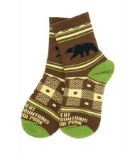 Unisex Green and Brown Black Bear Socks