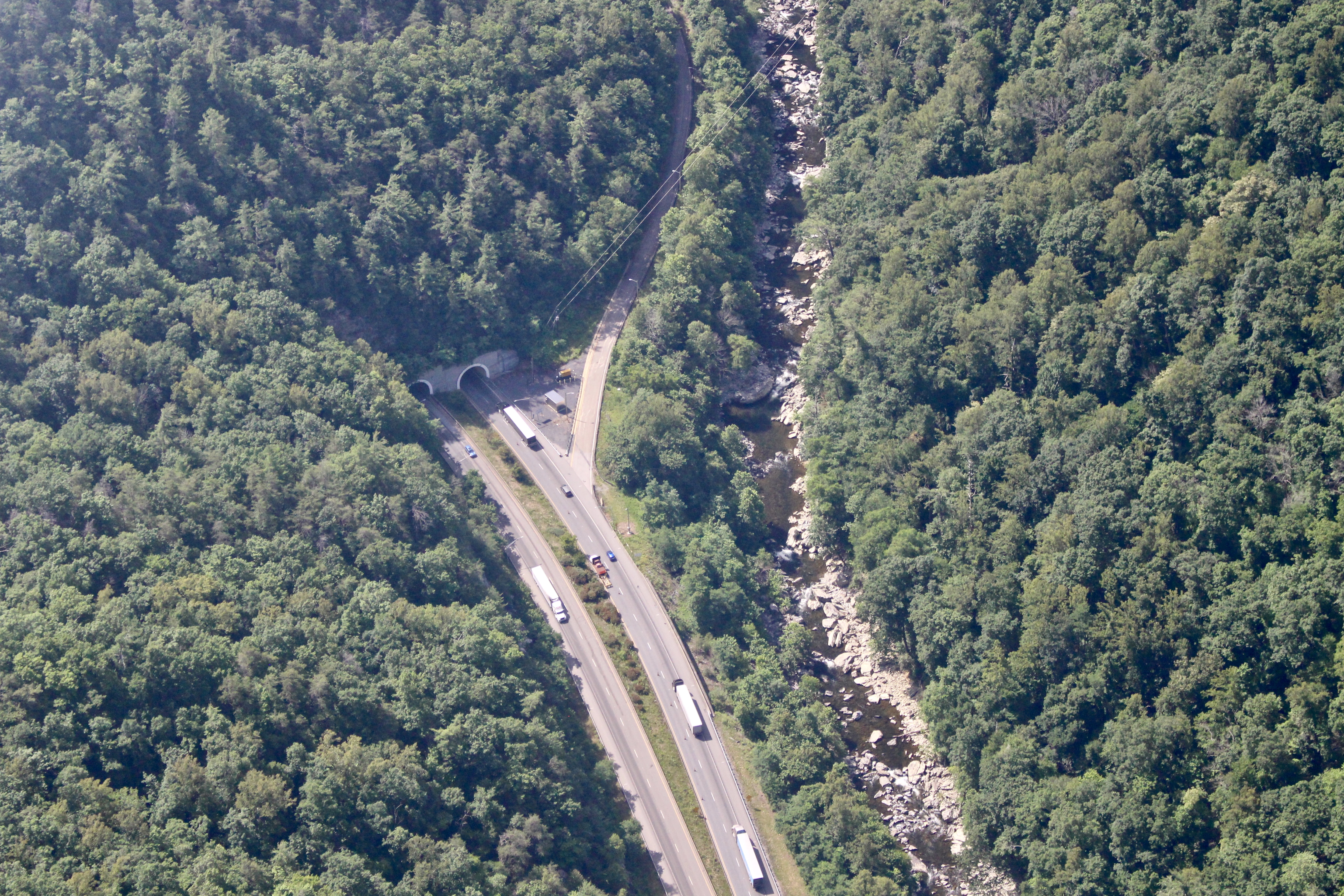 Aerial view of the Pigeon River Gorge, a dangerous 28-mile section of Interstate 40 between Asheville and Knoxville where more than 27,000 vehicles travel daily near Great Smoky Mountains National Park. Photo courtesy of Jake Faber, Southwings.