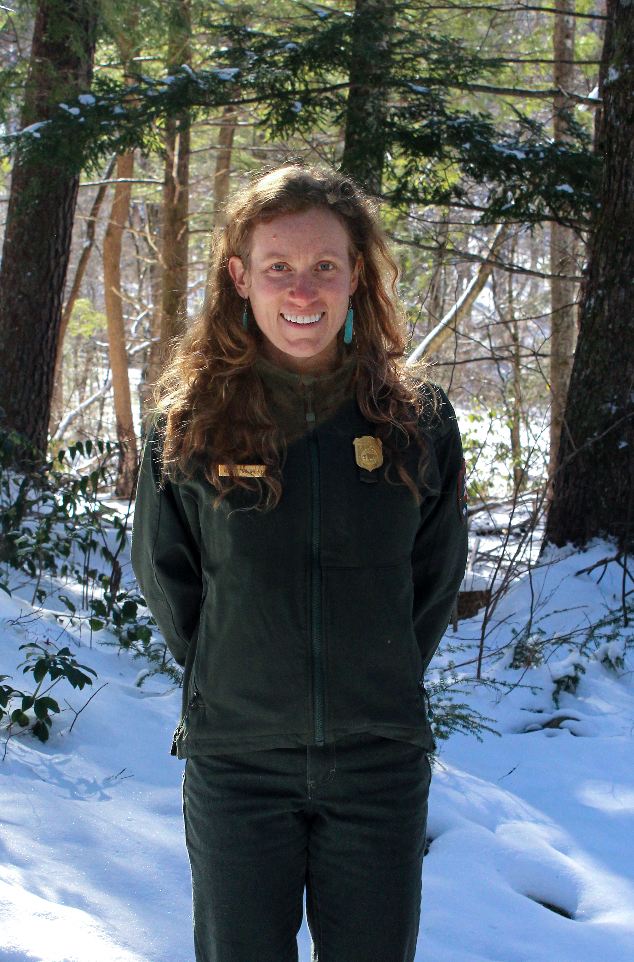 Alix Pfennigwerth maps and surveys wetlands as a biological science technician with the Inventory and Monitoring program at GSMNP. Photo courtesy of Emma DuFort, GSMA.