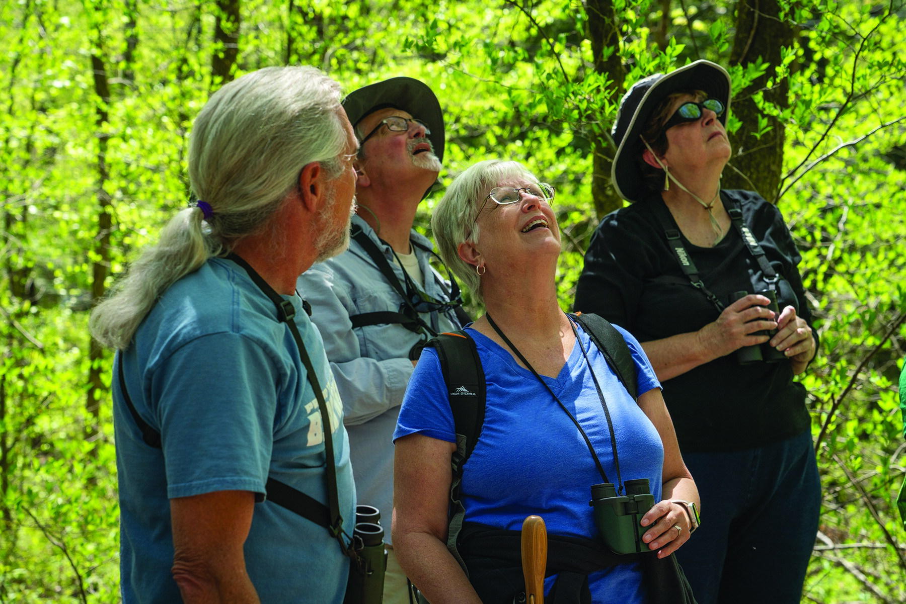 Guide and former biologist Keith Watson (left) leads a birding group on a tour in Great Smoky Mountains National Park. Photo courtesy of Joye Ardyn Durham.