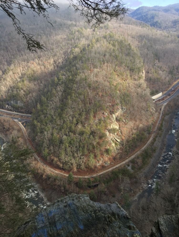 """When Interstate 40 was constructed in the 1960s, engineers inadvertently left a land bridge, a swath of connected natural landscape, over the """"double tunnel,"""" which many species of wildlife use today to traverse the Pigeon River Gorge. Photo courtesy of National Parks Conservation Association and Wildlands Network"""