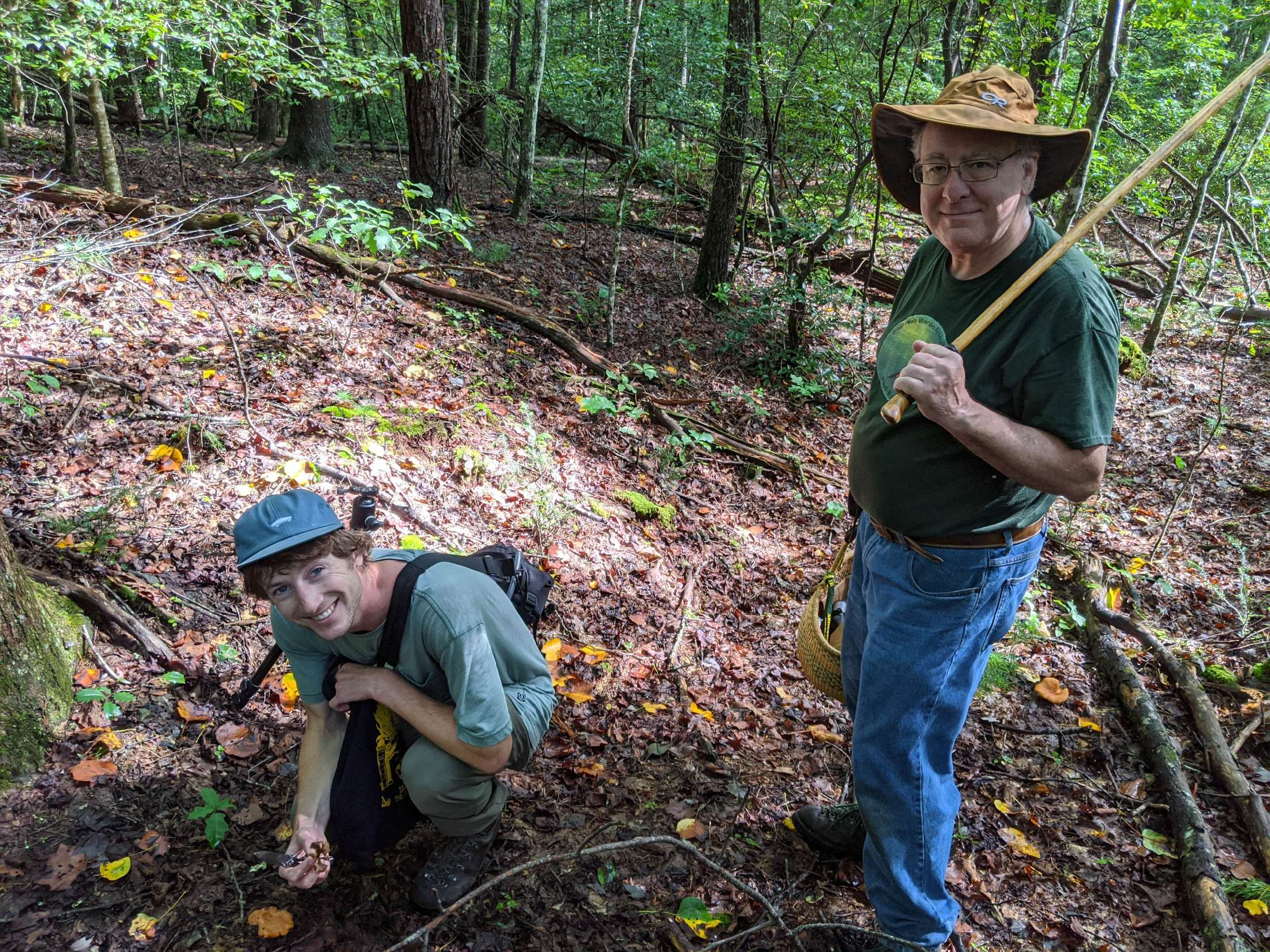 Mike Hopping of the Asheville Mushroom Club and Chance Noffsinger in the field. Photo courtesy of Brandon Matheny