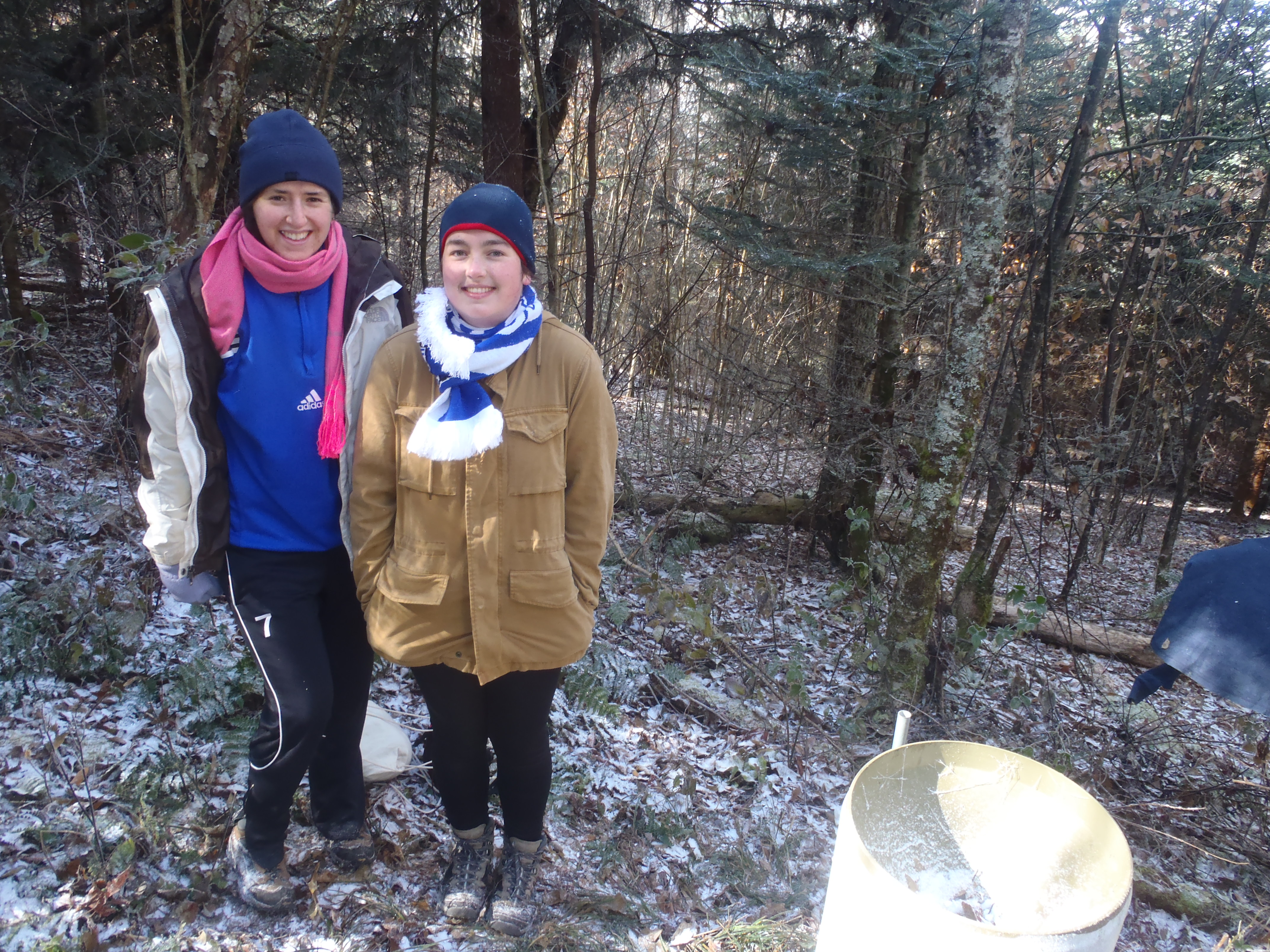 Mountain Raingers Carly Narotsky (left) and Meredith Avison (right) survive a freezing day in the field.