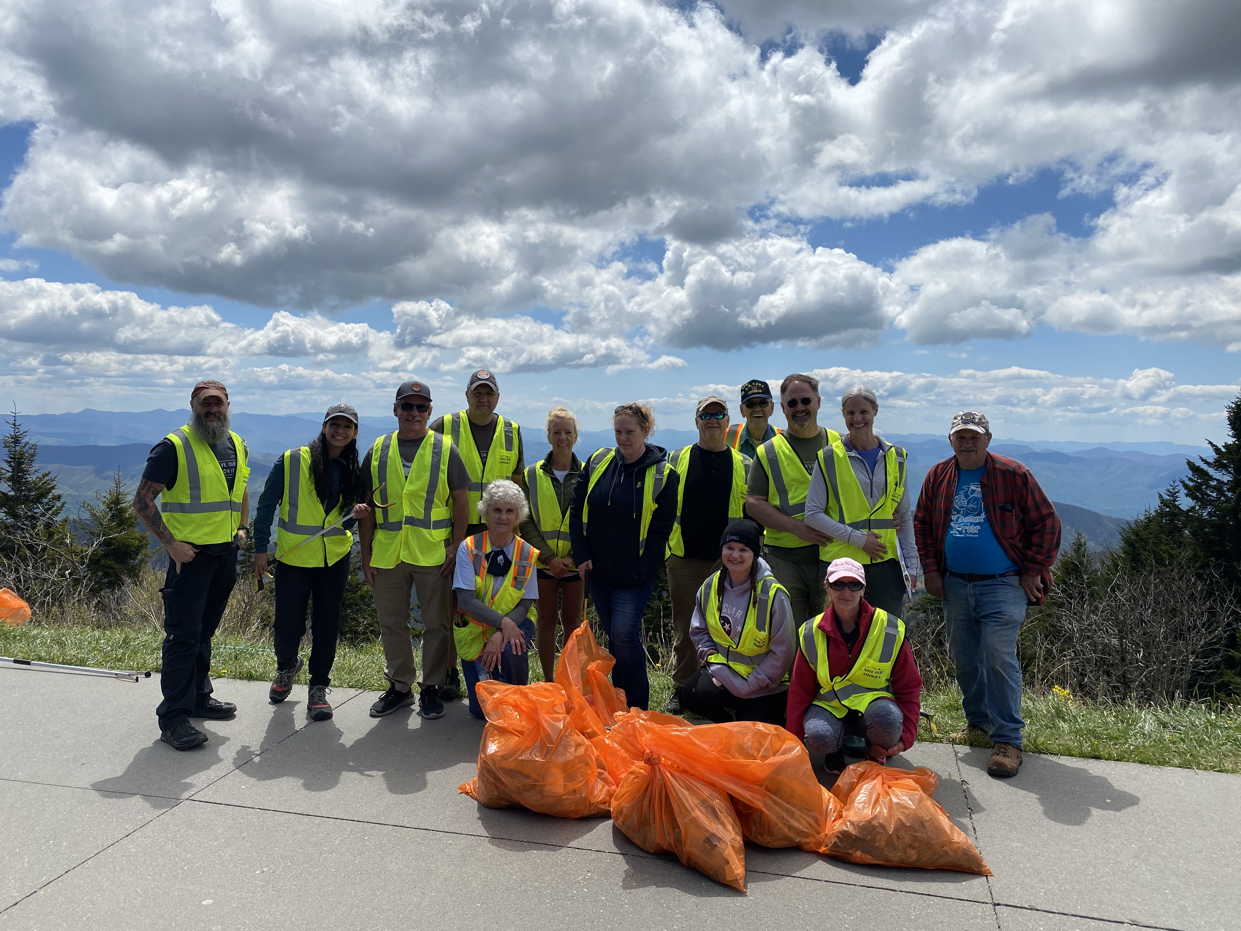 Litter Patrol volunteers who worked together in May of 2021 on a Clingmans Dome Road cleanup in Great Smoky Mountains National Park. Image courtesy of Jerry and Darlene Willis.