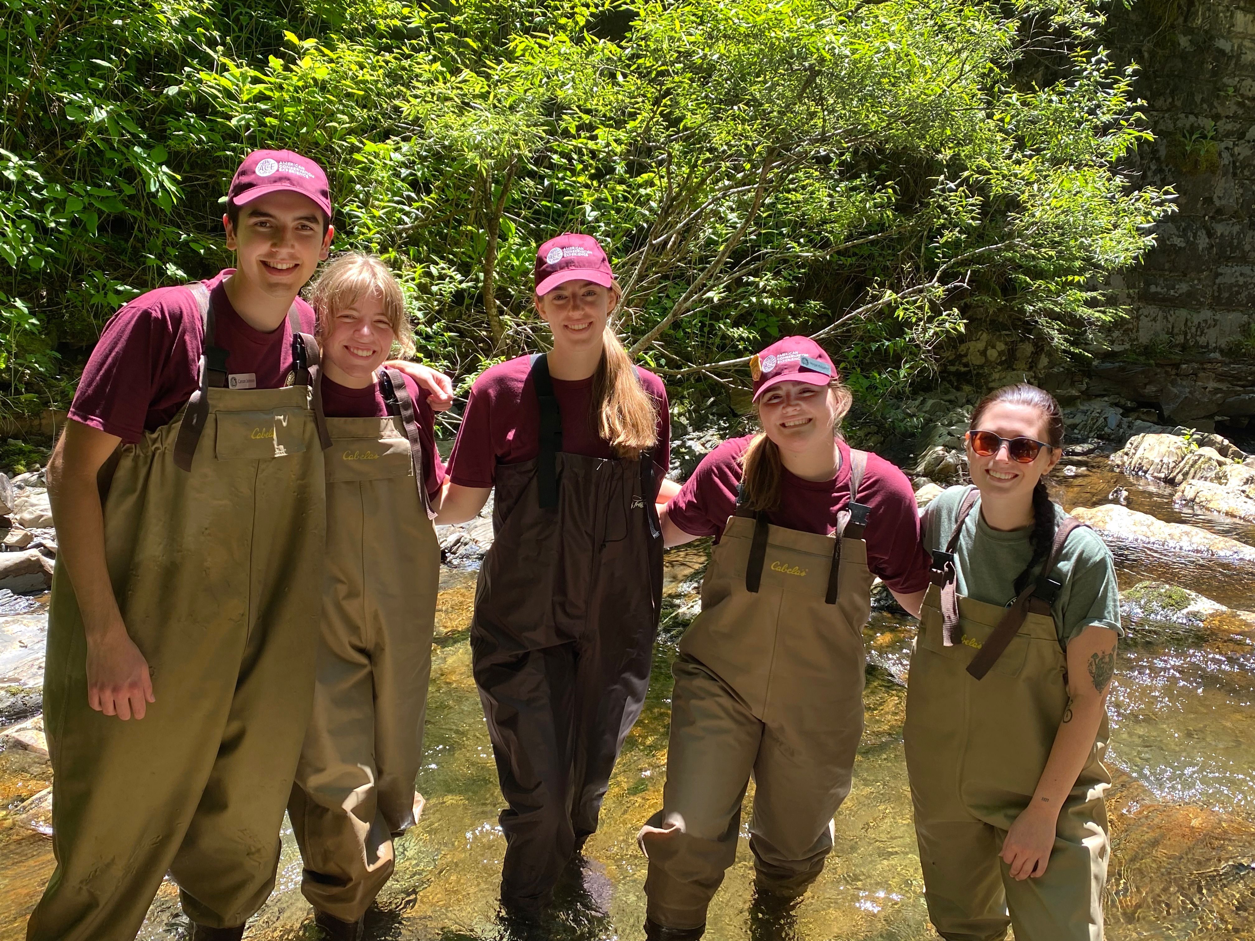 Experiences in the Smokies often help summer interns like these to better determine what type of career they want to pursue when they head off to college in the fall. From left to right: Carson Johnson, Kaylie Hallcox, Grace Pepperman, Morgan Kirkpatrick, and Becca Foster. Image courtesy of NPS.
