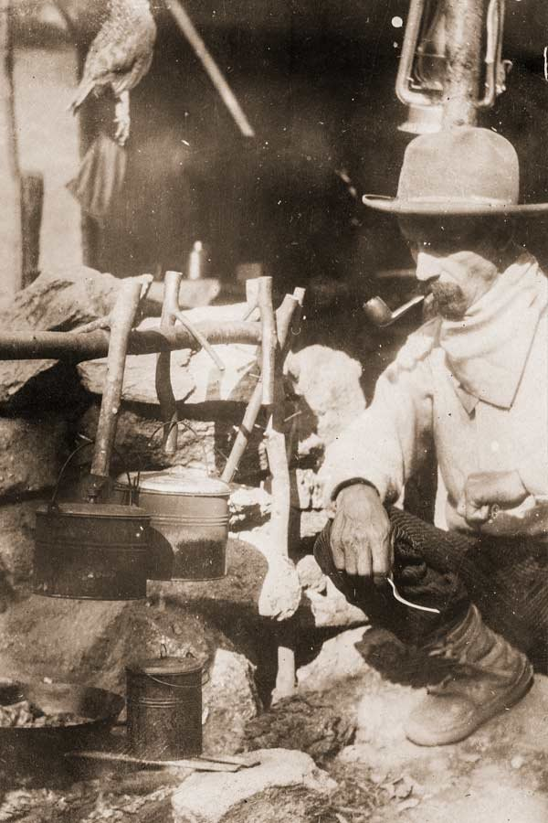 Horace Kephart camping in the 'Back of Beyond.' Photo courtesy of Hunter Library Special Collections.
