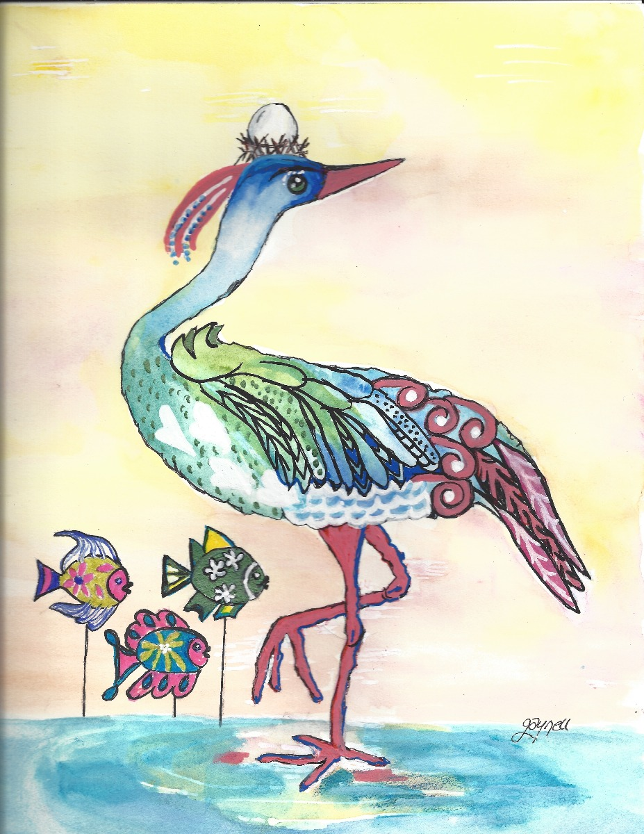 Painting by Gaynell Lawson entitled Heron in Search of Fish